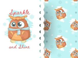 Cute little owl with pattern