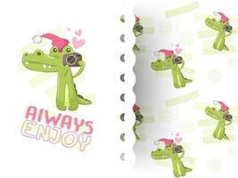 Hand drawn cute crocodile holding camera pattern vector