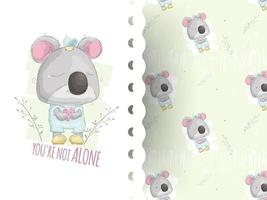 Cartoon style illustration of teddy Koala crying with pattern