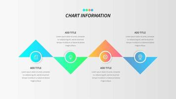 Colorful four step infographic with gradient triangles