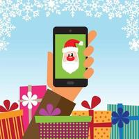 Hand holding a mobile phone with gifts and Santa Claus on the device vector