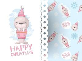 Cute seal card with christmas pattern