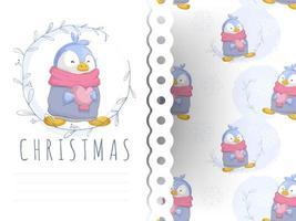 Pingouin mignon de bande dessinée tenant la carte de voeux coeur et modèle sans couture