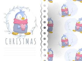 Leuke cartoon pinguïn hart wenskaart en naadloze patroon te houden
