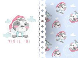 Cute teddy sloth cartoon and christmas pattern