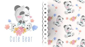 Cute teddy bear sitting on flowers card with pattern