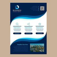 Simple Blue Wavy Design One Page Business Brochure Template