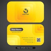Tarjeta de visita rectangular rectangular redondeada amarilla