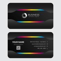 Plantilla de tarjeta de visita - arco iris colorido negro