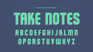 Modern Green Sketch Artistic Font with Diagonal Striped Shadow vector