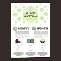 Plantilla de folleto comercial simple con formas hexagonales verdes