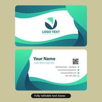 Abstract Green Rounded Waves Business Card Template