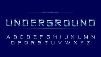 Blue Chrome Steel Sports Artistic Font