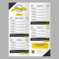 Editable Black and Yellow Restaurant Food Menu Template with Banner