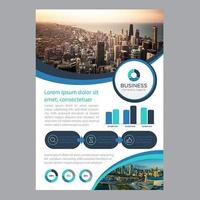 Modern Business Brochure Template with Rounded Cutouts and Chart Elements