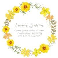 Watercolor flower frame with text space.