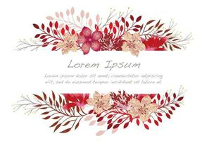 Watercolor flower background illustration with text space.
