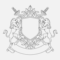 Coat of arms shield design with two lions and swords