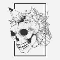 Skull head with pencil through it and flowers hand drawing vector
