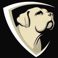 Testa di cane con design a scudo
