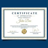 Blue and Gold Frame Certificate of Appreciation vector