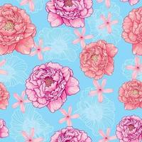 Seamless pattern of peonies on a blue background