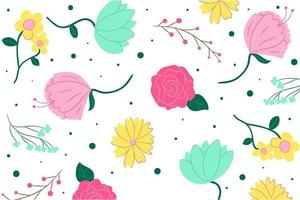 Hand Drawn Colorful Floral Ornaments Background vector