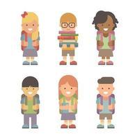 Set of six school children