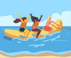 People riding a banana boat