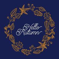 hola tarjeta de felicitación de la temporada de otoño vector