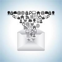 social media icons falling into envelope