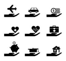 family protection hand icons vector