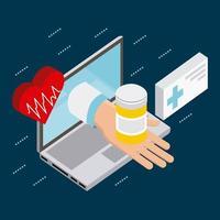 pantalla de computadora con mano sujetando medicina