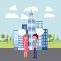 Couple Having Conversation in the City vector