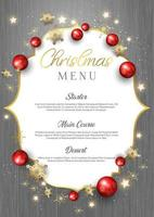 Christmas menu on wood texture