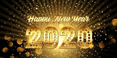 Happy New Year banner with gold