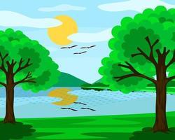 Blick auf den See und den blauen Himmel. Die Sonne, Wolken und Bäume. Es ist ein wunderschönes natürliches Bild.