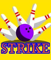 Ball bowls hit all falling pins and strike. vector