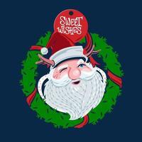 Santa Claus Wreath Decoration vector