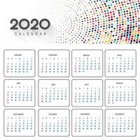 Beautiful 2020 calendar in colorful dotted design