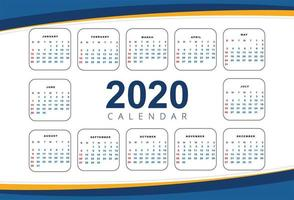Beautiful wave 2020 new year calendar design template