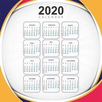 Beautiful wave 2020 new year calendar design template vector