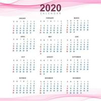 Modèle de calendrier Clean 2020 beau vecteur de conception de vague