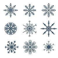 Beautiful Snowflakes set elements vector