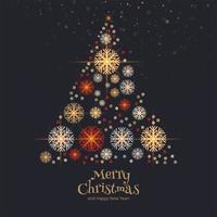 Fundo de cartão de árvore de natal de flocos de neve decorativos