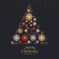 Decorative snowflakes christmas tree card background