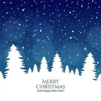Merry Christmas tree and Happy New Year festival card vector