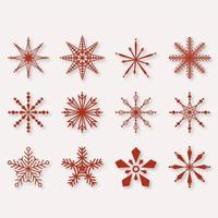Beautiful Winter Snowflakes set elements