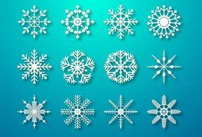 Decorative christmas snowflakes set elements