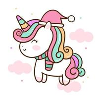 Cute unicorn vector Kawaii animal Christmas character